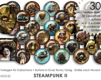 STEAMPUNK II 30 digitale Cabochonvorlagen Cabochon Vorlagen digital Download Buttonvorlagen Schmuckbilder Cabochons Buttons template Collage