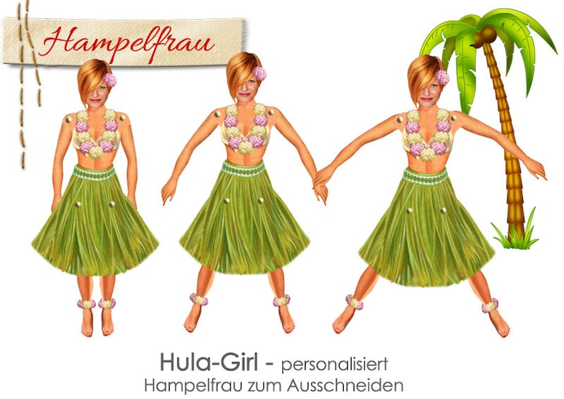 HULA GIRL  personalized paper doll craft sheet doll your image 0