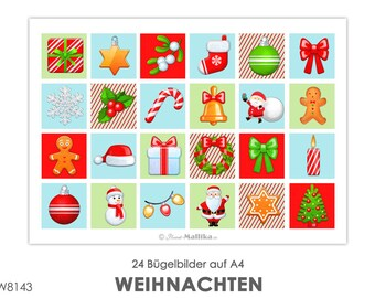CHRISTMAS 24 Ironing Pictures Ironing Picture Ironing Foil Press Patches Application Appli Fabric Picture T-Shirt Picture Nikolaus Christmas Tree Star