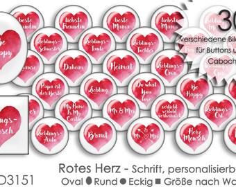 Cabochon Vorlagen HERZ - personalisierbar