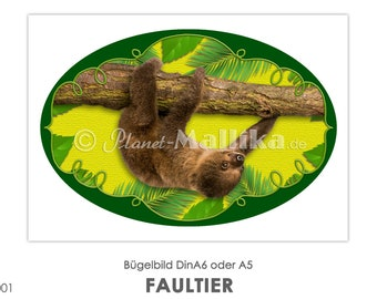 FAULTIER Ironing Pictures Ironing Foil Iron Patches Application Appli Fabric Picture T-Shirt Picture Iron On Sloth Kids Cute Animal Baby