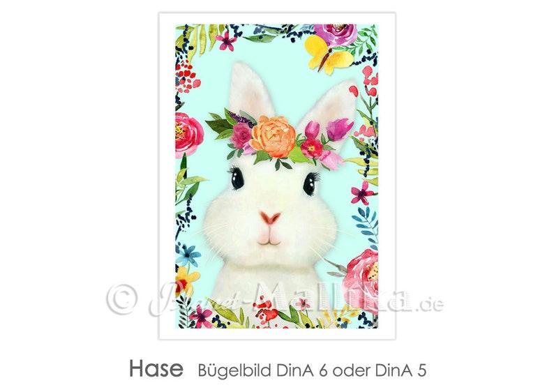 HASE ironing Bunny Easter Bunny Flowers Flower Row Ironing image 0