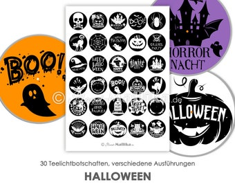 HALLOWEEN Tealight - Messages TeaLight Templates Images for Tealights Digital File for Self-Printing