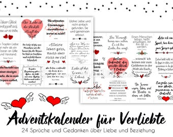 LOVE COUPLE Advent calendar with 24 messages for couples in love, married couples, fiancées, fresh or long in love