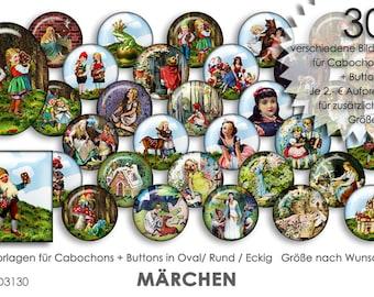 MÄRCHEN Fairy Tales 30 Cabochonvorlagen Cabochon Vorlagen digital Download Buttonvorlagen Bilder Schmuck Buttons Cabochon template Collage