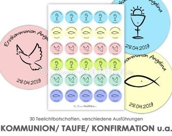 COMMUNION BAPTISM personalized tea light - messages tea light templates images for tea lights digital file for self-printing communion