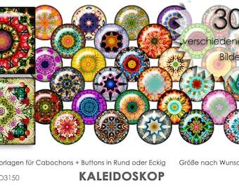KALEIDOSKOP 30 digitale Cabochonvorlagen Cabochon Vorlagen digital Download Buttonvorlagen Schmuckbilder Cabochons Buttons template Collage