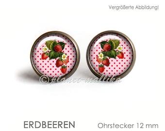 Ear studs ERDBEERE earrings stud earrings Brisuren ear ring OHRSTECKER Strawberry strawberry cabochon jewelry cabochon pink red