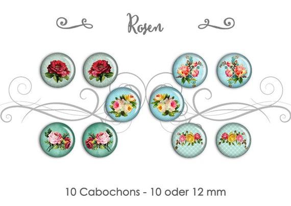 10 pinke Rosen als Cabochon 10 mm