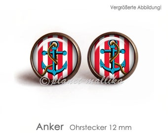 ANKER earrings earrings earrings hanging earrings Brisuren ear jewelry OHRSTECKER cabochon jewelry maritime vintage anchor anchor shipping ship
