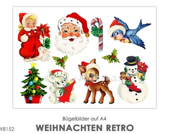 RETRO Christmas Nikolaus Schneemann Winter Ironing Picture Ironing Foil IronIng Patches Appli Fabric Picture T-Shirt Picture