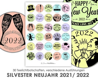 NEW YEAR'S EVE NEW YEAR 2021/ 2022 Tealight - Messages Tealight Templates Images for Tealights digital file for self-printing New Year's greeting