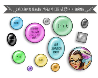 CABOCHON TEMPLATES + for additional sizes and / or shapes