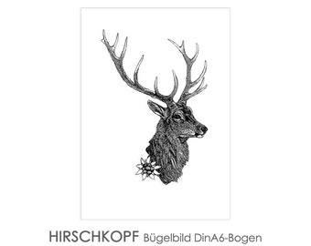 HIRSCH Ironing Picture Ironing Pictures Ironing Foil Ironing Foil On-Bügler Patches Appli Fabric Picture T-Shirt Picture Deer Antler black White Ironing Image