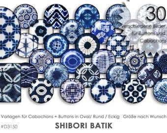 SHIBORI BATIK 30 digital cabochon templates cabochon templates digital download button templates jewelry pictures buttons template collage
