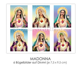 MADONNA six ironing pictures ironing foil iron patches appli fabric picture T-shirt picture colorful mother God religion Christianity