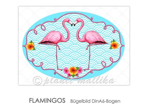 2 x Patches Bügelbilder Flamingo rosa Aufnäher Blogger Verzierung DIY