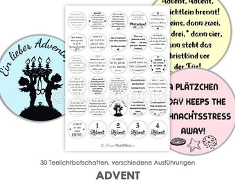 ADVENT Tealight - Messages Tealight Templates Images for Tealights Digital File for Self-Printing