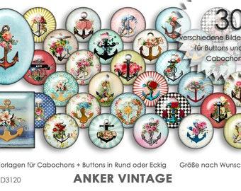 ANKER VINTAGE - Cabochonvorlagen digital Download Buttonvorlagen Bilder für Schmuck Cabochon Buttons Cabochon template Collage