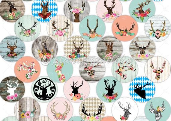 Hirsch Romantik Cabochon Vorlagen Digitale Cabochonvorlagen Bilder Für Buttons Selbstausdruck Collagebogen