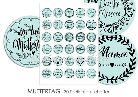 Muttertag Teelicht Botschaften Teelicht Vorlagen Zum Selbstausdrucken Bastelbogen Collagebogen Digital
