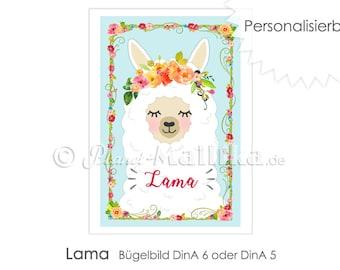 LAMA Llama ironing emironing image ironing foil lighting up patches application appli fabric image T-shirt image