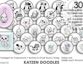 CATS doodle 30 Digital Cabochon Templates Cabochon Templates Digital Download Button Templates Buttons template Collage Jewelry Pictures Pictures