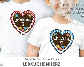 GINGERBREAD HEART Ironing Picture Child Birthday Ironing Foil Patch Application Appli Fabric Picture T-Shirt Picture Children's Birthday Personalized Name