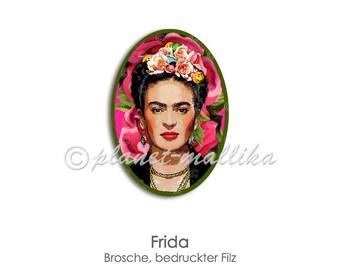 Brooch FRIDA Pin Felt Plug Button Jewelry Frida Portrait Felt oval