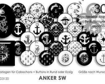 ANKER SW Cabochonvorlagen + Button Vorlagen