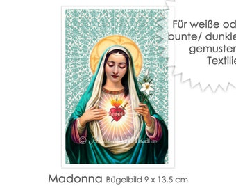 MADONNA Ironing Picture Ironing Pictures Ironing Foil Press Patches Application Appli Fabric Picture T-Shirt Picture Saint Mary Mother of God