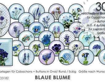 BLUE FLOWER 30 Cabochon Templates Cabochon Templates Digital Download Button Templates Images for Jewelry Cabochon Buttons template Collage