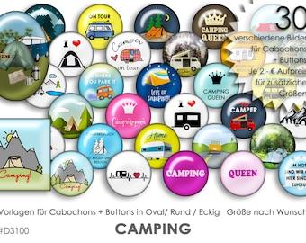 CAMPING ZELTEN 30 digitale Cabochonvorlagen Cabochon Vorlagen digital Download Buttonvorlagen Bilder für Schmuck Buttons template Collage