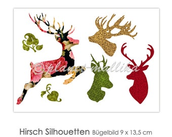 HIRSCH Ironing Picture Ironing Pictures Ironing Foil Press Patches Application Appli Fabric Picture T-Shirt Picture Deer Antler Ironing Picture