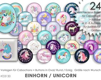 EINHORN Unicorn 30 digitale Cabochonvorlagen Cabochon Vorlagen digital Download Buttonvorlagen Schmuckbilder Buttons template Collage