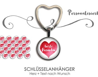 HEART Keychain Gift for Girlfriend Grandma Brother Colleague Educator - Keychain with caption individually as desired