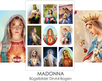 MADONNA Ironing Picture Ironing Pictures Ironing Foil Press Patches Application Appli Fabric Picture T-Shirt Picture Madonnas Mary Mother of God