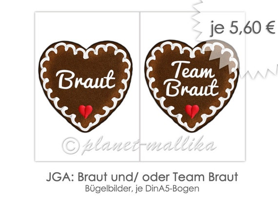 Bügelbild Jga Braut Team Braut Junggesellinnenabschied Feier Party Bügelfolie Individuell Herz Lebkuchenherz Name Personalisiert