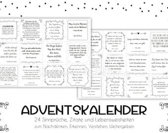 SAYINGS Advent Calendar Quotes Advent Calendar Paper or Digital Advent Calendar Gift Advent Calendar Friends Christmas Calendar