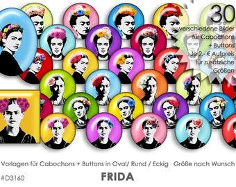 FRIDA 30 Cabochonvorlagen Cabochon Vorlagen digital Download Buttonvorlagen Bilder für Schmuck Buttons Cabochon template Collage