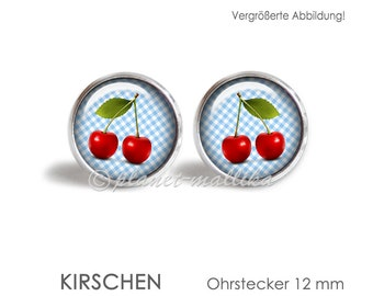 Ear studs CHERRY earrings stud earrings Brisuren ear ring OHRSTECKER Rockabilly cherry cherry Vichy sweet cabochon round