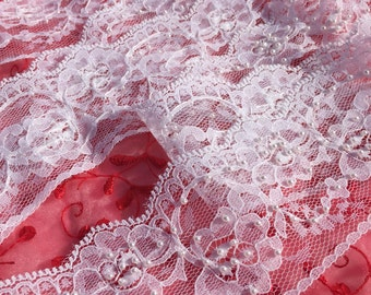 """Vintage White Lace with Pearl Trim 2 3/4"""" - Sold by the Yard"""