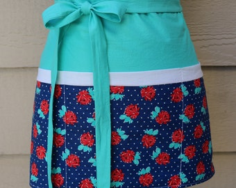 Teal/Blue/Red floral half apron