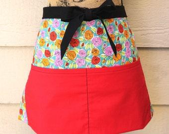 Red floral half apron