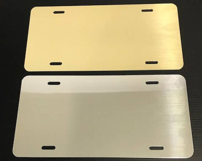 "Qty. 5 / License Plate Blank - Polished Gold or Chrome 6""x12"" .040"