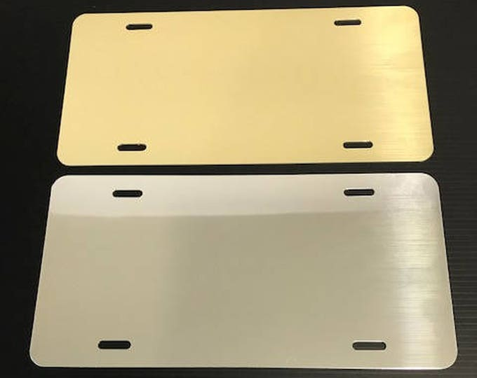 "Qty. 1 / License Plate Blank - Polished Gold or Chrome 6""x12"" .040"