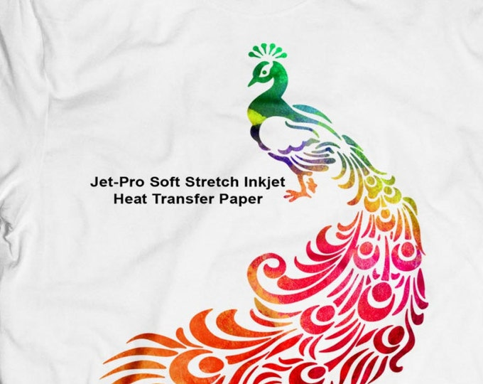 """8.5""""x 11"""" / 10 sheets / JET-PRO® Soft Stretch Heat Transfer Paper / For Light Fabric"""