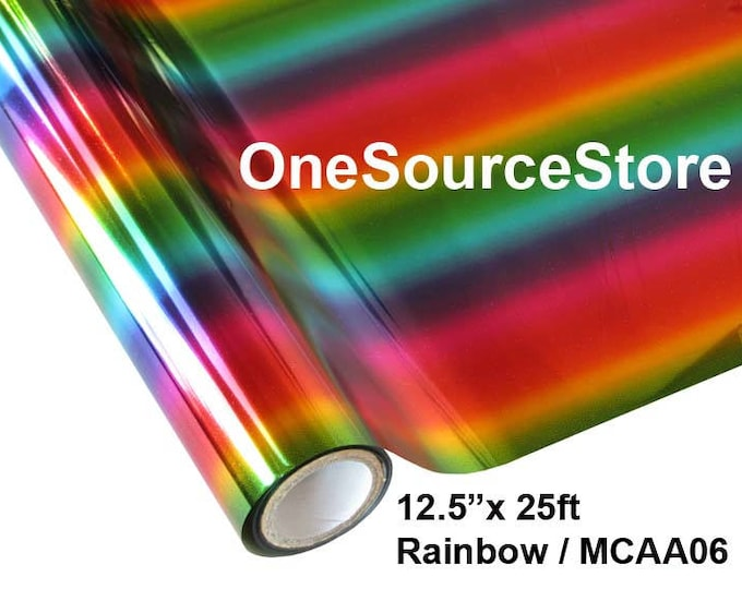 """HTV Textile Foil* / 12.5 """"x 25 ft / Rainbow/ MCAA06  -  Different process used - please read before ordering."""