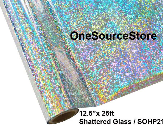 """HTV Textile Foil* / 12.5 """"x 25 ft / Shattered Glass / SOHP21 -  Different process used - please read before ordering."""