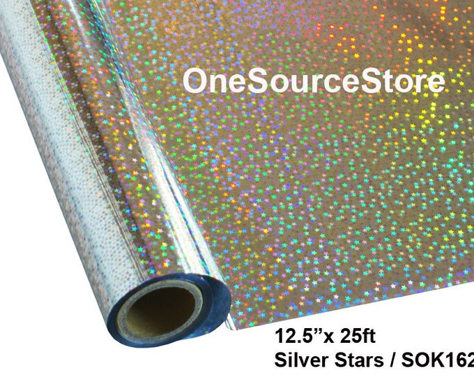 "HTV Textile Foil* / 12.5 ""x 25 ft / Silver Stars / SOK162 - Different process used - please read before ordering."